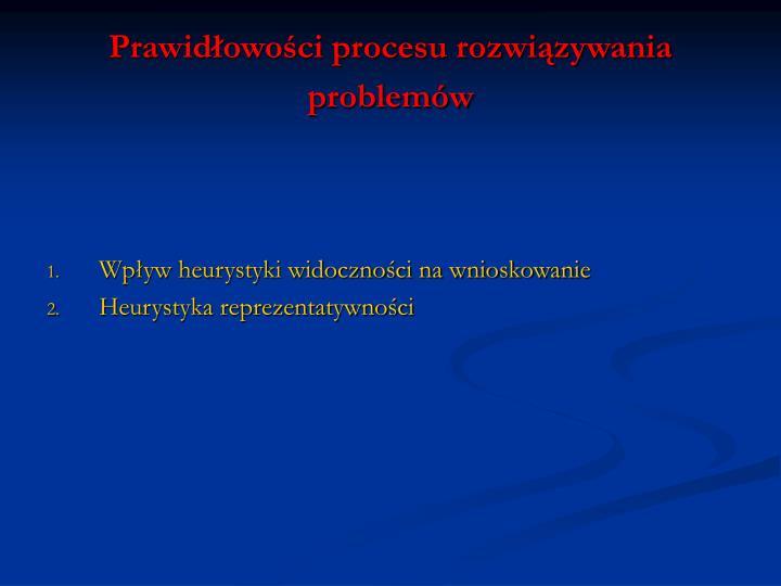 Prawidłowości procesu rozwiązywania problemów
