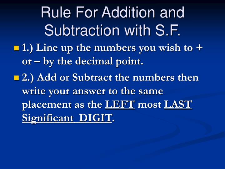 Rule For Addition and Subtraction with S.F.