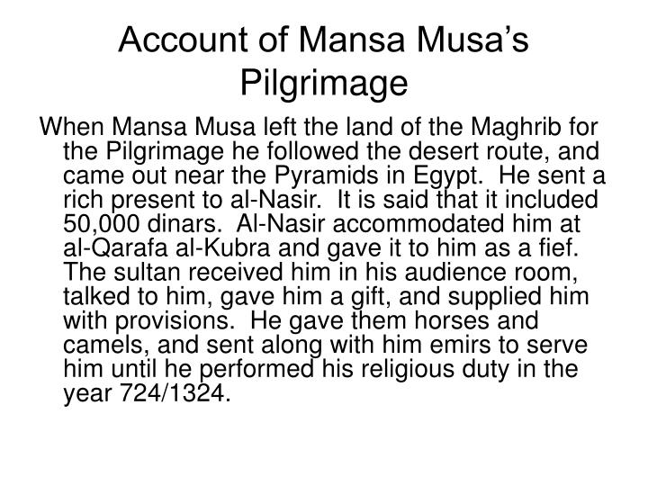 Account of Mansa Musa's Pilgrimage
