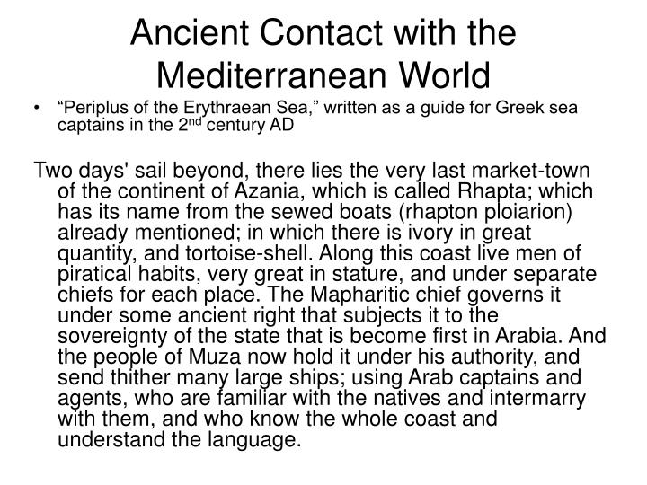 Ancient Contact with the Mediterranean World