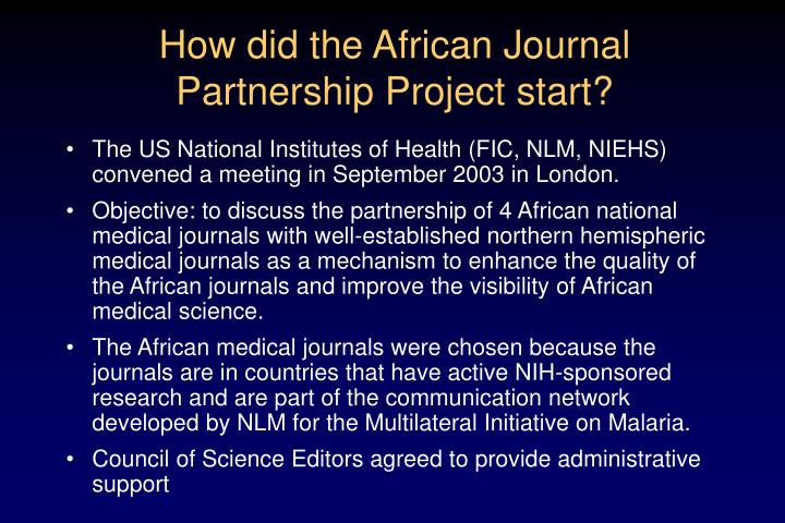 How did the African Journal Partnership Project start?