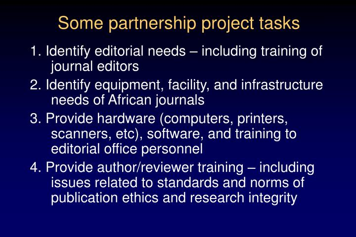 Some partnership project tasks