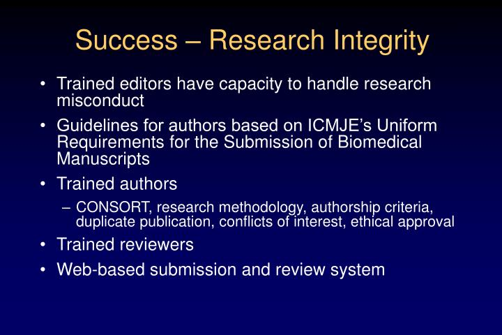 Success – Research Integrity