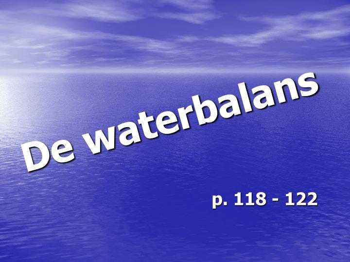 De waterbalans