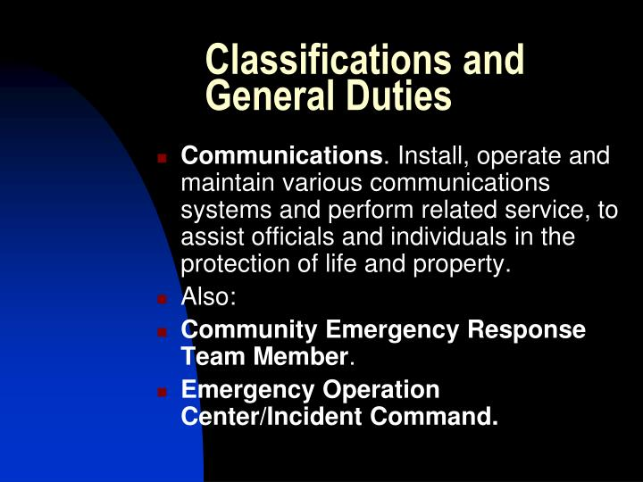 Classifications and General Duties