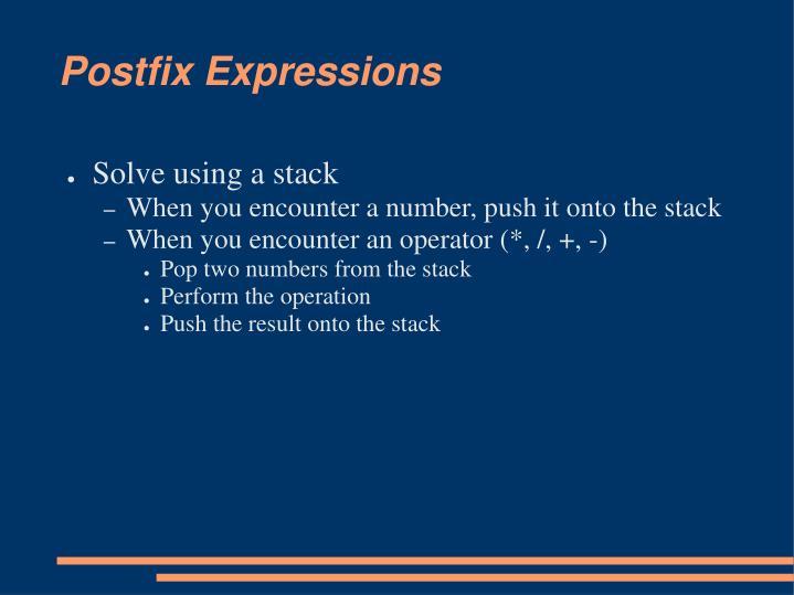 Postfix Expressions