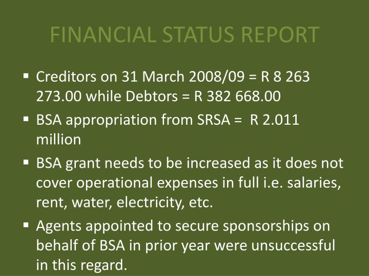 FINANCIAL STATUS REPORT