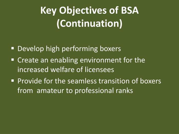 Key Objectives of BSA (Continuation)