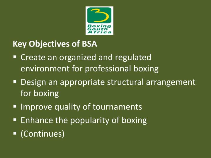 Key Objectives of BSA