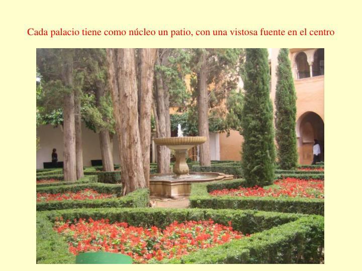 Cada palacio tiene como núcleo un patio, con una vistosa fuente en el centro