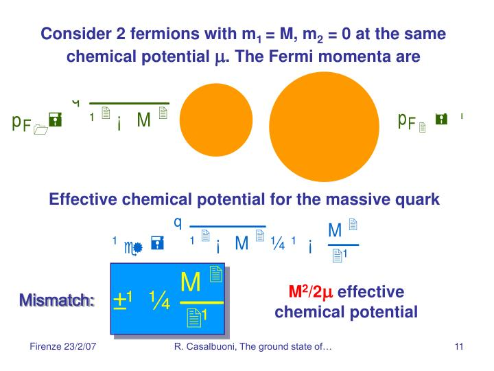 Consider 2 fermions with m