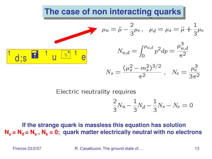 The case of non interacting quarks