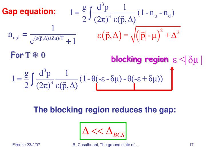 Gap equation: