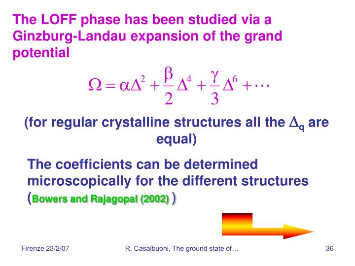 The LOFF phase has been studied via a Ginzburg-Landau expansion of the grand potential