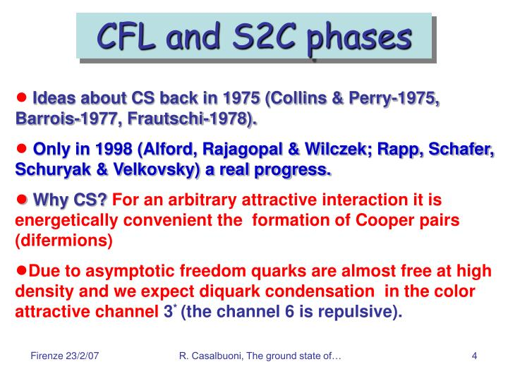 CFL and S2C phases