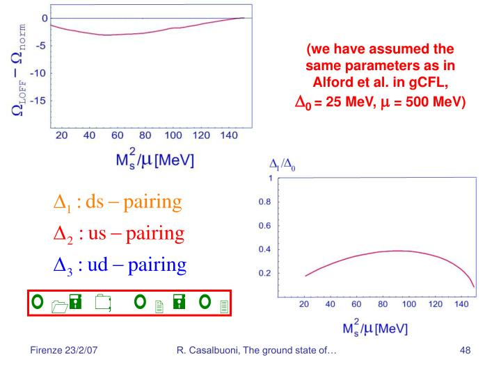 (we have assumed the same parameters as in Alford et al. in gCFL,