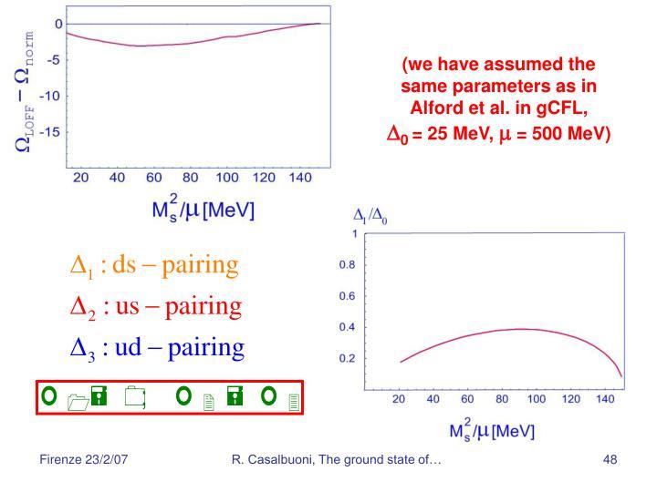 (we have assumed the same parameters as in Alford et al. in gCFL,