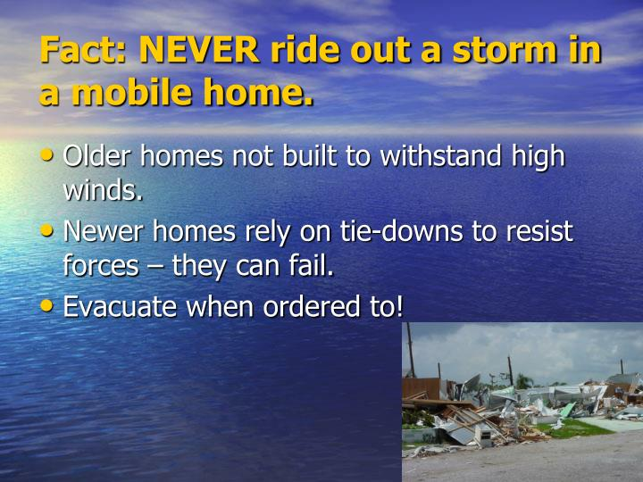 Fact: NEVER ride out a storm in a mobile home.