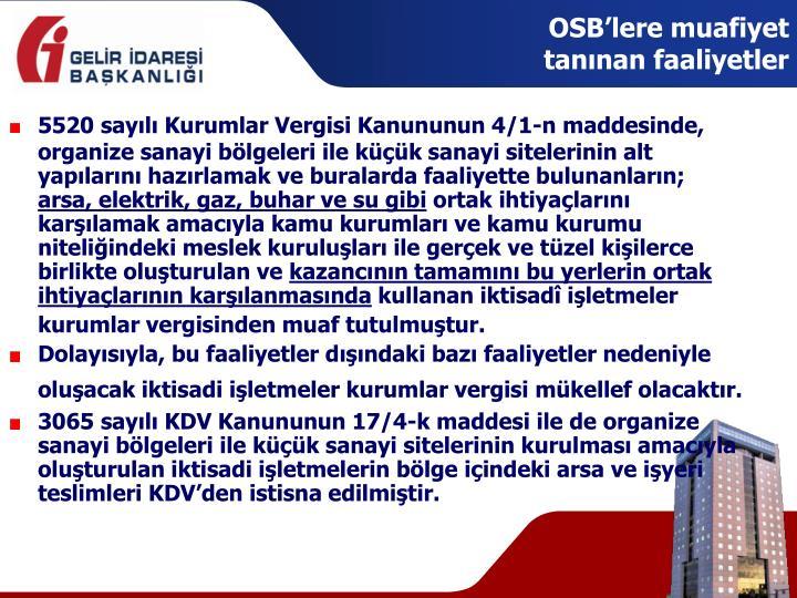 OSB'lere muafiyet