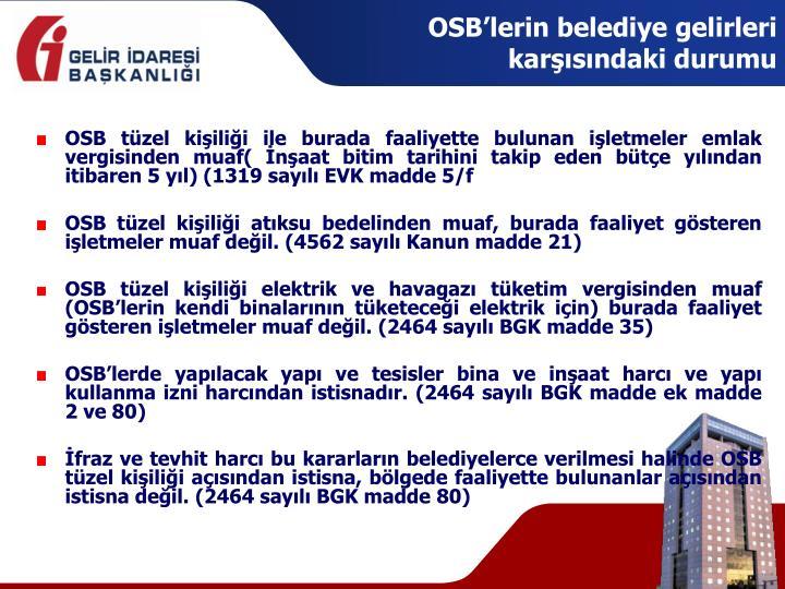 OSB'lerin belediye gelirleri