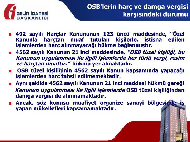 OSB'lerin harç ve damga vergisi karşısındaki durumu