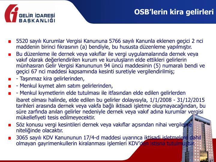 OSB'lerin kira gelirleri