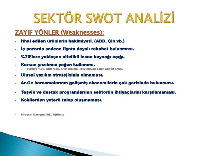 SEKTÖR SWOT ANALİZİ
