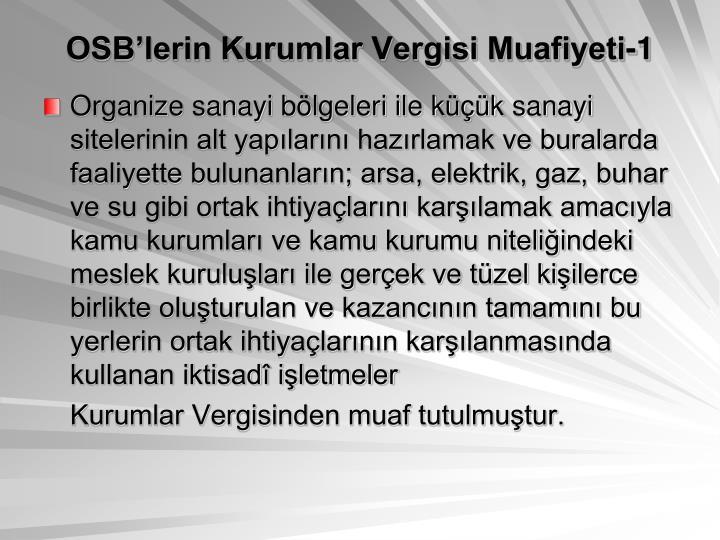 OSB'lerin Kurumlar Vergisi Muafiyeti-1