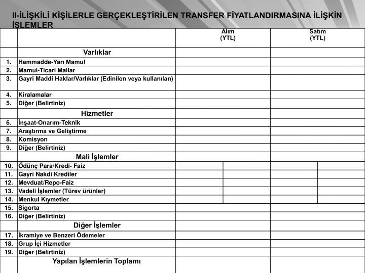 II-LKL KLERLE GEREKLETRLEN TRANSFER FYATLANDIRMASINA LKN LEMLER