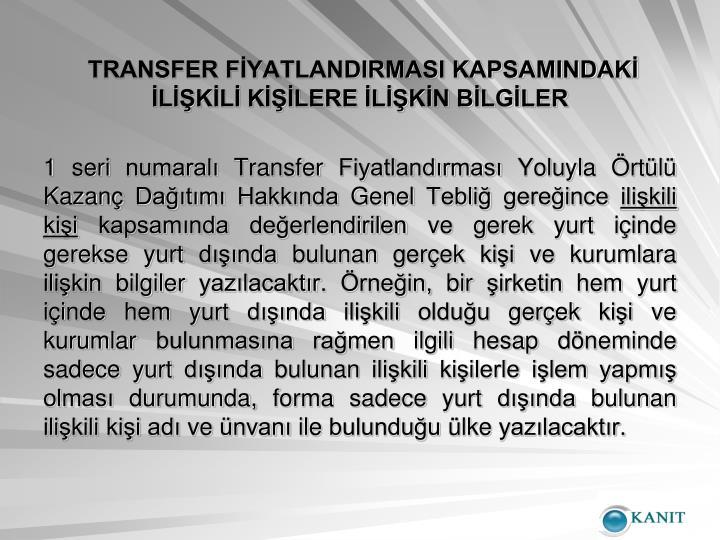 TRANSFER FYATLANDIRMASI KAPSAMINDAK LKL KLERE LKN BLGLER