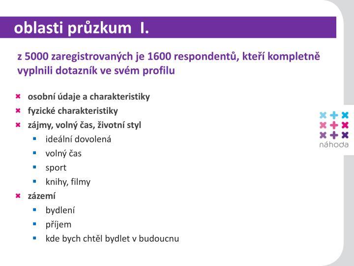 oblasti průzkum  I.