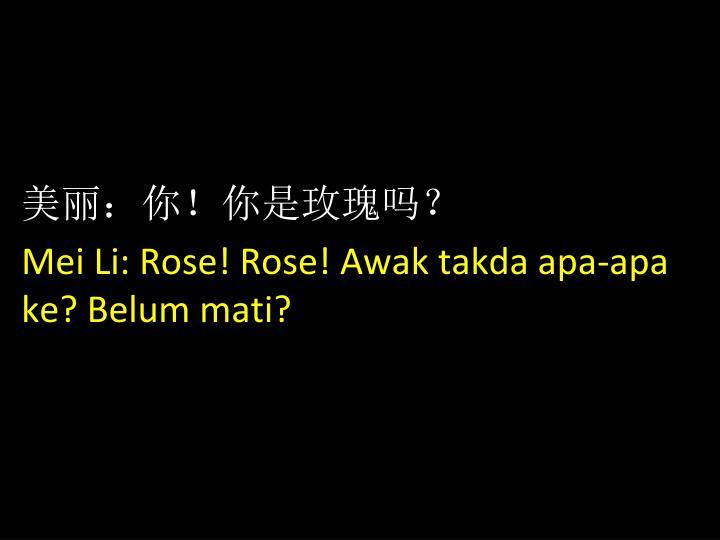 美丽:你!你是玫瑰吗?