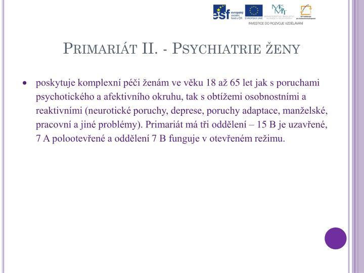 Primariát II. - Psychiatrie ženy
