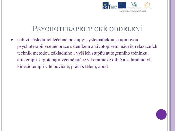 Psychoterapeutické oddělení