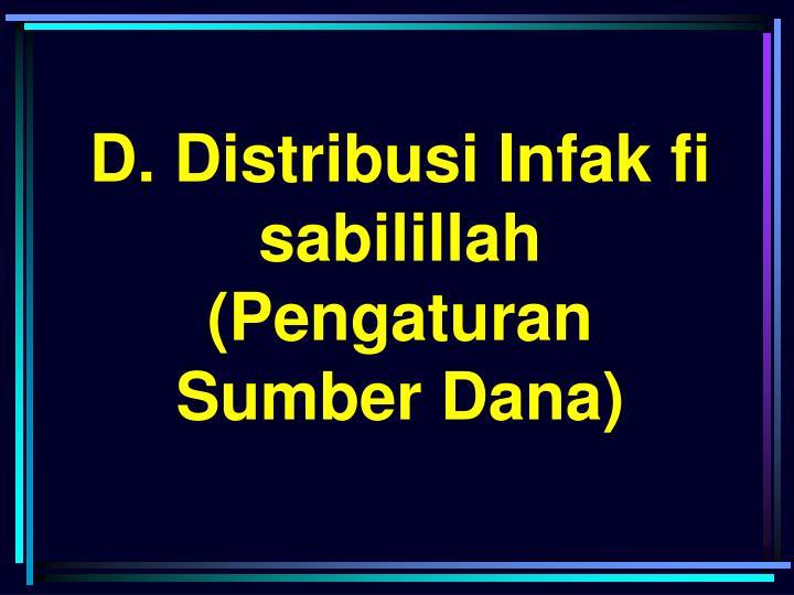 D. Distribusi Infak fi sabilillah (Pengaturan Sumber Dana)