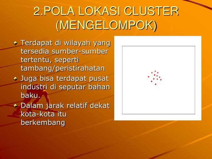 2.POLA LOKASI CLUSTER (MENGELOMPOK)