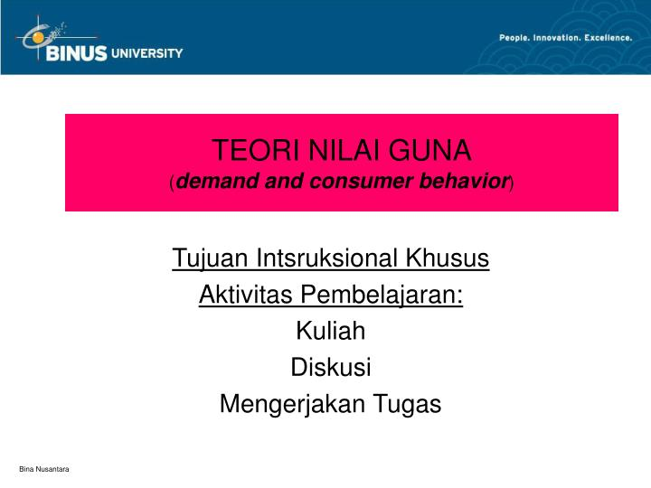 teori nilai guna demand and consumer behavior