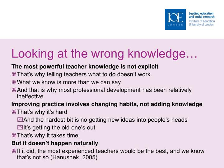 Looking at the wrong knowledge…