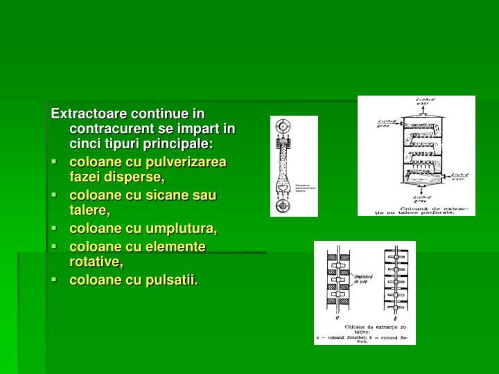 Extractoare continue in contracurent se impart in cinci tipuri principale: