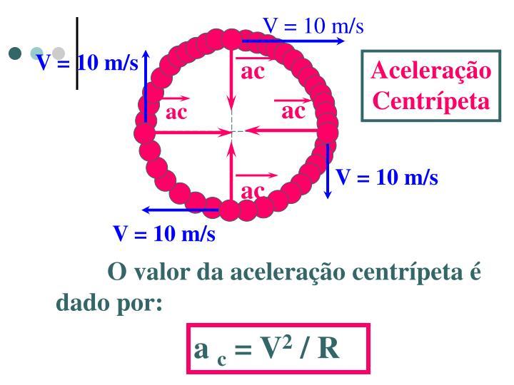 V = 10 m/s