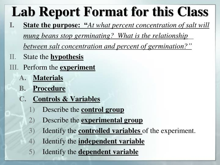 Lab Report Format for this Class