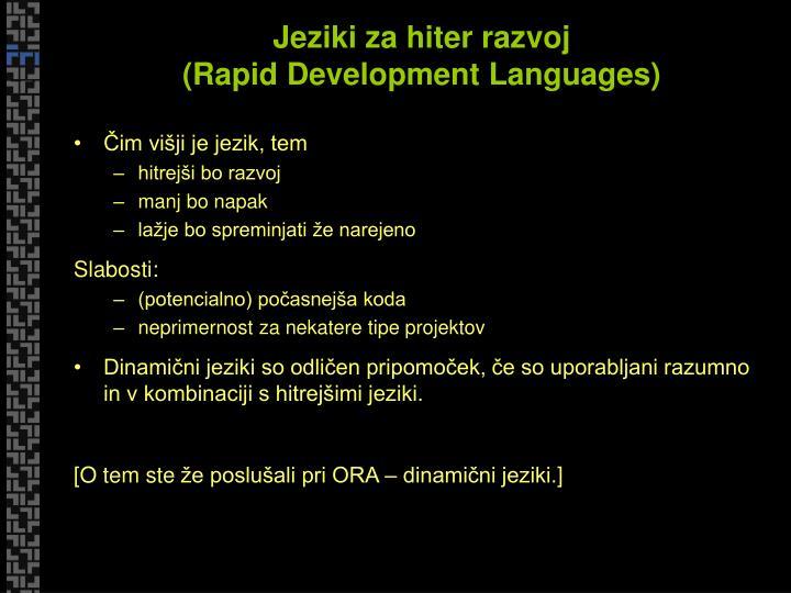 Jeziki za hiter razvoj