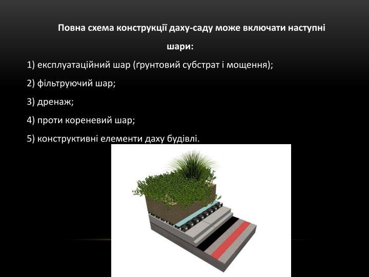 Повна схема конструкції даху-саду може включати наступні шари: