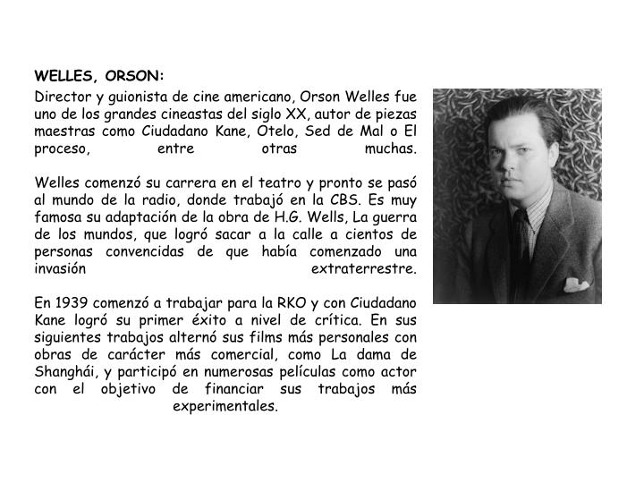WELLES, ORSON: