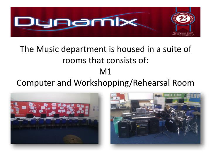 The Music department is housed in a suite of rooms that consists of: