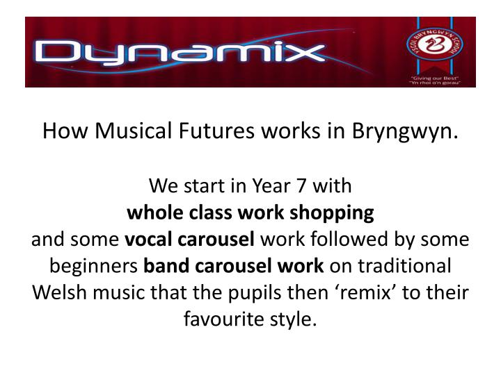 How Musical Futures works in Bryngwyn.