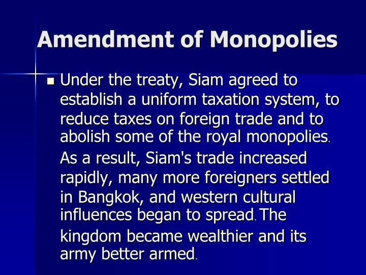 Amendment of Monopolies