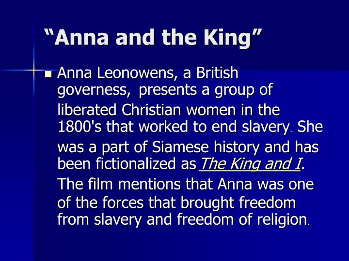 """Anna and the King"""