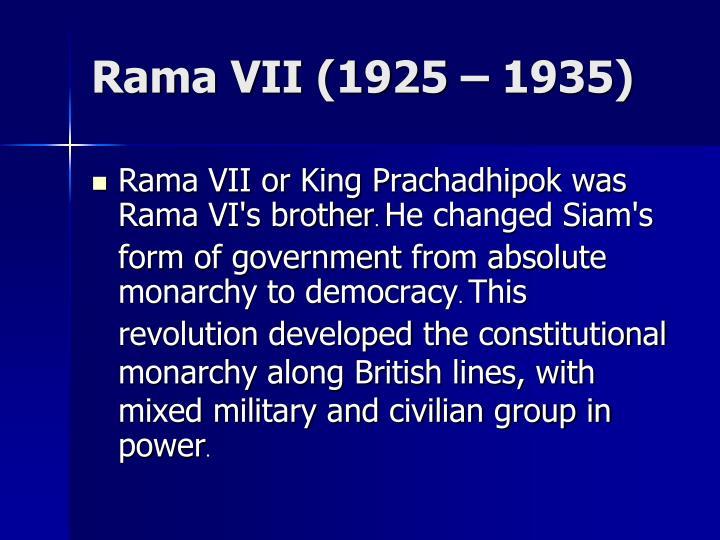 Rama VII (1925 – 1935)