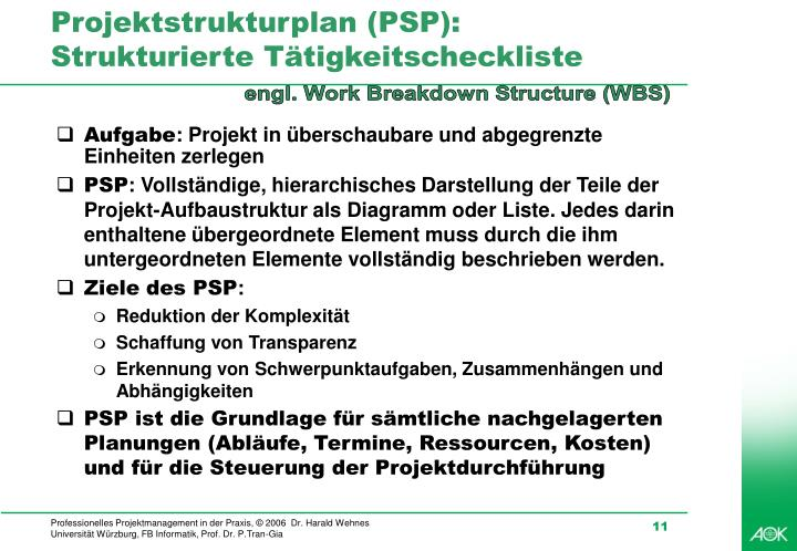 Projektstrukturplan (PSP):